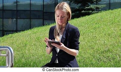 utilisation, femme, tablette, business, compu
