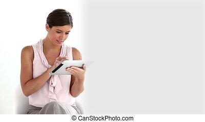 utilisation, femme, tablette