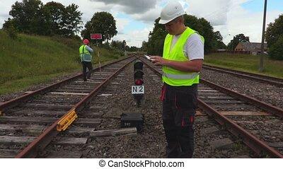 utilisation, ferroviaire, ingénieur, pc tablette