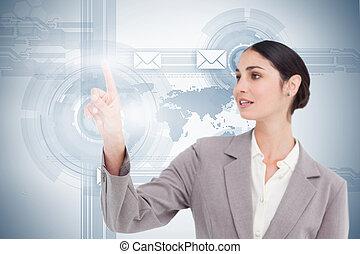 utilisation, futuriste, interface, femme affaires