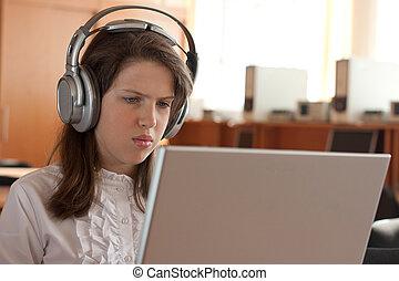 utilisation, girl, écouteurs, informatique