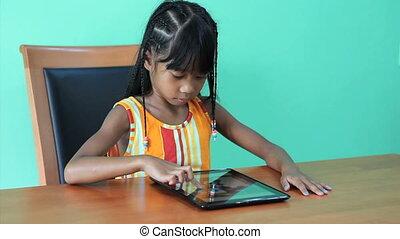 utilisation, girl, asiatique, tablette, numérique