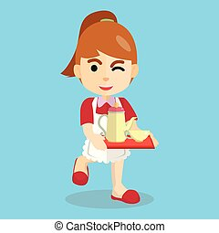 utilisation, girl, déguisement, serveuse