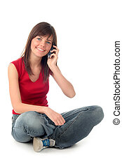 utilisation, girl, mobile