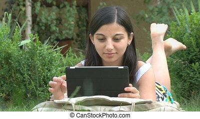 utilisation, girl, tablette, numérique