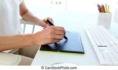 utilisation, graphique, digitizer, concepteur