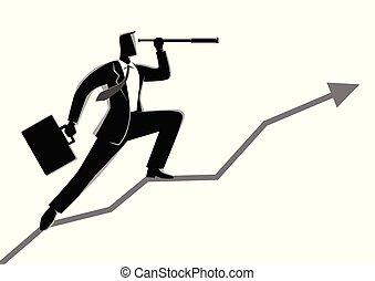 utilisation, graphique, télescope, homme affaires, diagramme