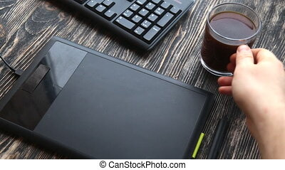 utilisation, graphique, tablette numérique, concepteur