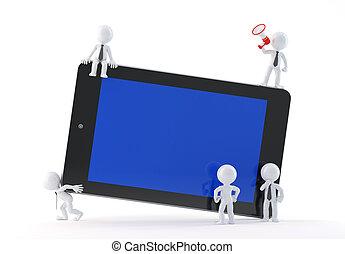 utilisation, groupe, tablette, professionnels
