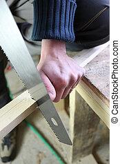 utilisation, hand-saw, homme