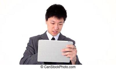 utilisation, homme affaires, jeune, onglet, asiatique