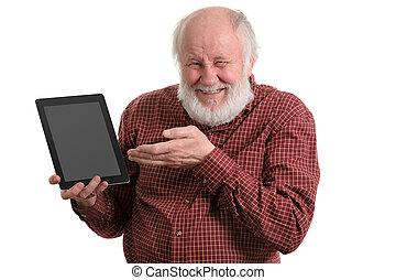 utilisation, homme, tablette, isolé, vieux, blanc, informatique, rigolote