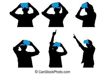 utilisation, homme, vr, casque à écouteurs