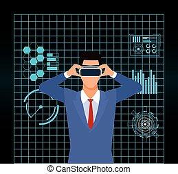 utilisation, homme, vr, intelligence artificielle, technologie, lunettes protectrices