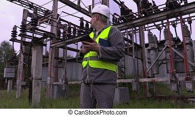 utilisation, ingénieur, électrique, pc tablette
