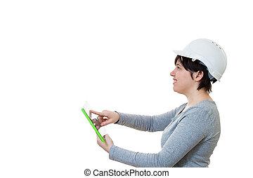 utilisation, ingénieur, pc tablette