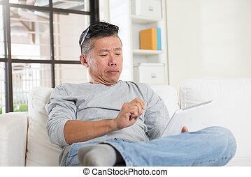utilisation, mâle, informatique, asiatique