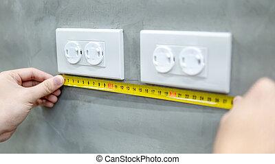 utilisation, main, sortie électrique, mesure, bande, mâle
