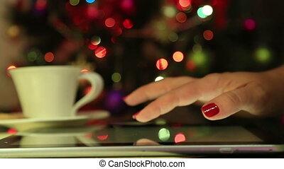utilisation, mains, femme, tablette, numérique