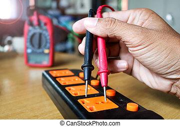 utilisation, mesure, voltmètre, techniciens, plug.