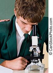 utilisation, microscope, étudiant