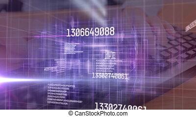 utilisation, nombres, informatique, sur, incandescent, changer, données, personne, grille, traitement, clavier, animation