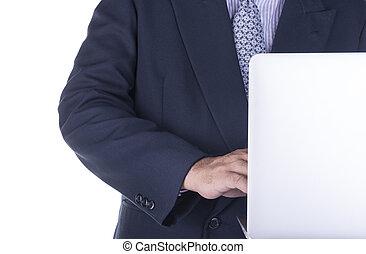 utilisation ordinateur, business, work., homme