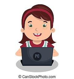 utilisation ordinateur, conception, enfants