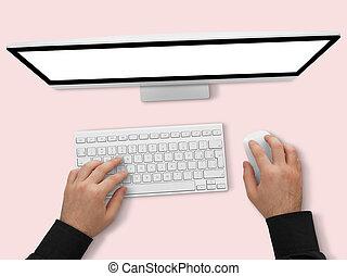 utilisation ordinateur, homme