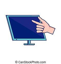 utilisation ordinateur, main, bureau
