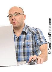 utilisation ordinateur, souris, désinvolte, homme