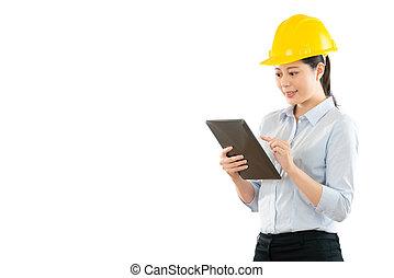 utilisation, ouvrier construction, tablette, numérique