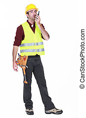 utilisation, ouvrier, talkie-walkie, fond blanc