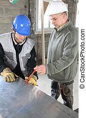 utilisation, ouvriers, outil construction
