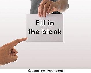 utilisation, papier, texte, vide, tenant main, blanc, homme, remplir