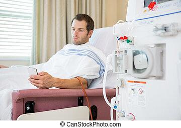 utilisation, patient, centre, dialyse, mobilephone