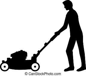utilisation, pelouse, homme, silhouette, faucheur
