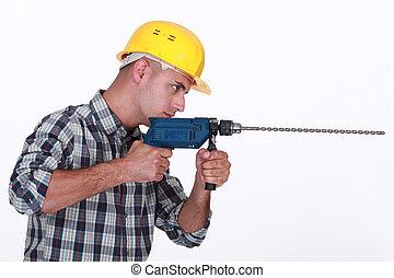 utilisation, perceuse électrique, homme