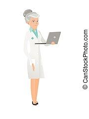 utilisation, personne agee, caucasien, laptop., docteur
