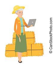 utilisation, personne agee, caucasien, laptop., paysan