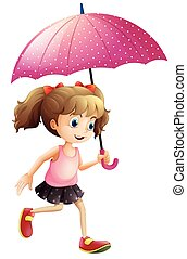 utilisation, peu, parapluie, girl