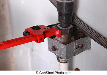 utilisation, plombier, clé