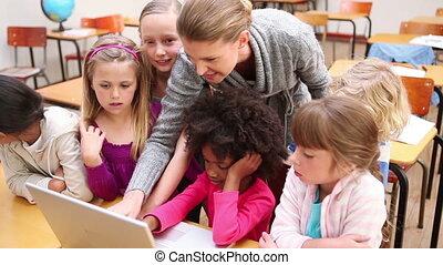 utilisation, prof, ordinateur portable