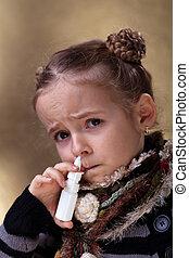 utilisation, pulvérisation, nasale, girl, jeune