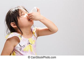 utilisation, pulvérisation, nasale, gosse