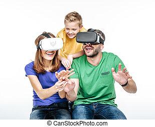 utilisation, réalité, famille, virtuel, ecouteurs