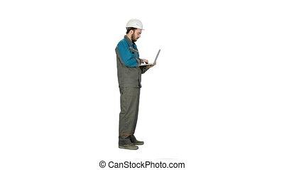 utilisation, séduisant, ingénieur, blanc, ordinateur portable, arrière-plan.
