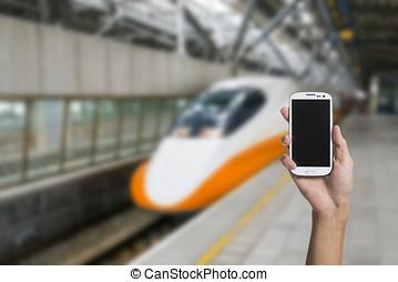 utilisation, smartphone, dans, a, métro
