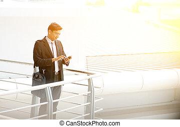 utilisation, smartphone, extérieur, professionnels