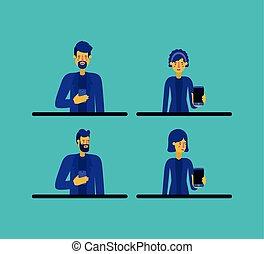 utilisation, smartphone, groupe, gens